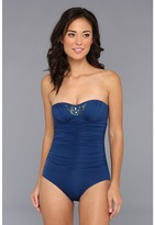 Badgley Mischka Valentina Shirred Bandeau Maillot