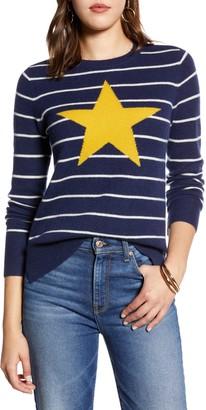 Halogen Wool & Cashmere Intarsia Crewneck Sweater