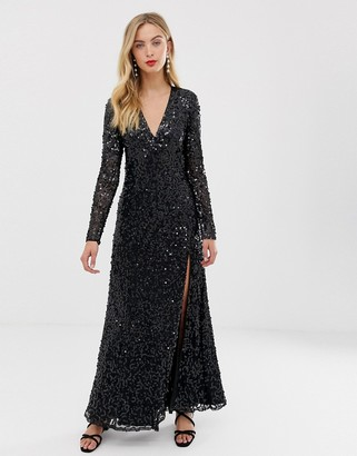 French Connection Helena embellished maxi dress-Black