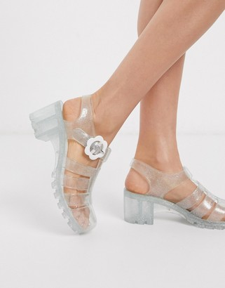 ASOS DESIGN Flossie fisherman jelly heeled sandals in silver glitter