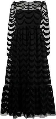 RED Valentino Scallop-Pattern Long Dress