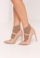 Missguided Nude Faux Suede Elastic Strap Pumps