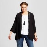 Xhilaration Women's Plus Size Kimono with Crochet Trim Black