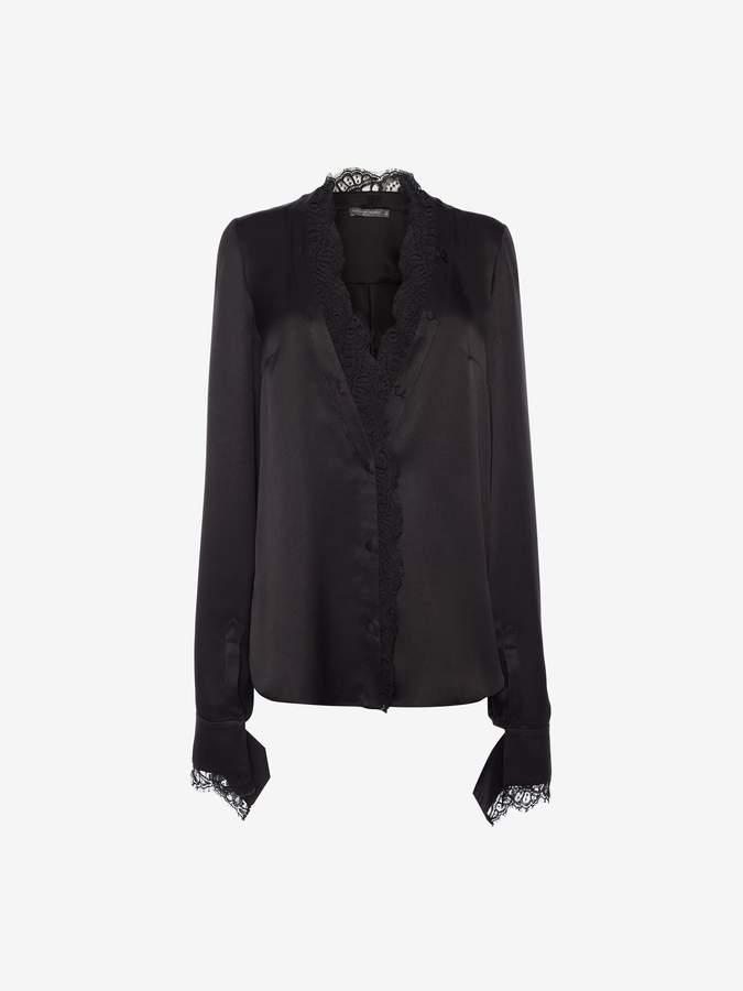 Alexander McQueen Scallop Lace Silk Shirt