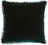 Aviva Stanoff Peacock Feather-Trim Velvet Pillow