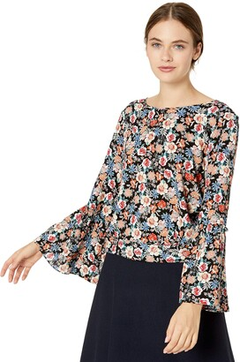 Jack by BB Dakota Junior's Bouquet You Stay Printed Crinkle Rayon Cropped top with tie
