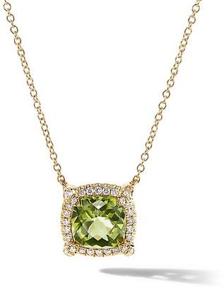 David Yurman Petite Chatelaine Pave Bezel Pendant Necklace in 18K Yellow Gold with Gemstone