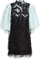 Ganni Layered Feathers Poplin Dress