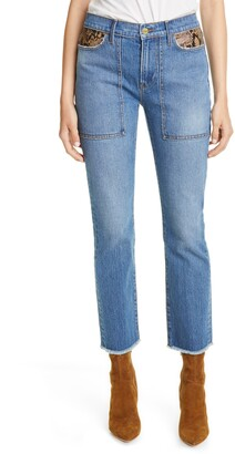 Frame Le High Straight Python Pocket Jeans