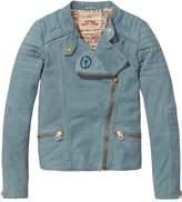 Scotch & Soda Distressed Leather Biker Jacket