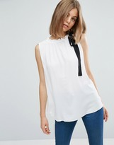 Asos Sleeveless Top With Contrast Neck Tie