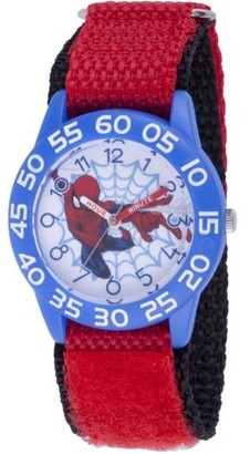 Marvel Spider-Man Boys' Blue Plastic Time Teacher Watch,Red Hook and Loop Nylon Strap with Black Backing