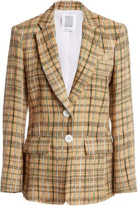 Rosie Assoulin Classic Plaid Linen-Blend Blazer