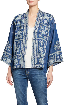 Johnny Was Alberte Cropped Embroidered Denim Kimono