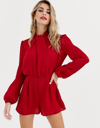 Miss Selfridge satin romper with twist neck in red