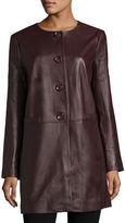 Neiman Marcus Basic Long Leather Jacket