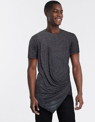 Asos DESIGN relaxed super longline t-shirt with drape front in black linen mix