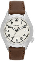 Fossil Men's Stainless Steel Brown Leather Strap Watch