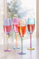 Urban Outfitters Assorted Colorblock Flute Glass - Set of 4