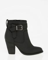 Le Château Nubuck Leather-Like Almond Toe Ankle Boot