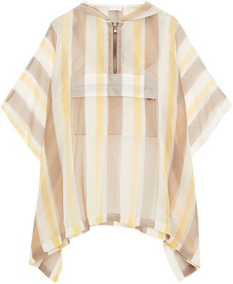 Brunello Cucinelli Bead-embellished Striped Silk-organza Hooded Poncho