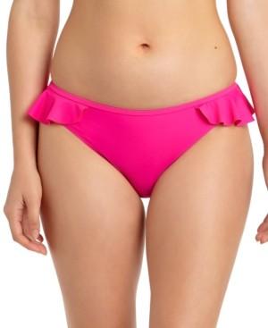 California Waves Juniors' Solid Ruffled Hipster Bikini Bottoms, Created for Macy's Women's Swimsuit