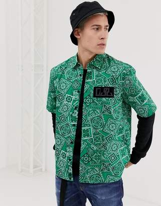 Diesel S-Fri-MP bandana print short sleeve shirt in green
