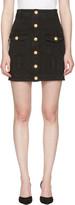 Balmain Black Denim Buttons Miniskirt