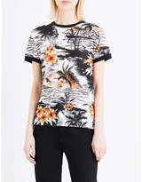 Maje Tuesday Hawaiian-print linen T-shirt