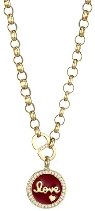 Sydney Evan 14K Yellow Gold, Diamond Pave& Red Enamel Love Medallion Necklace
