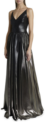 Givenchy Metallic Pleated V-Neck Gown