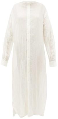 Jil Sander Mandarin-collar Crinkled Linen Nightdress - Ivory