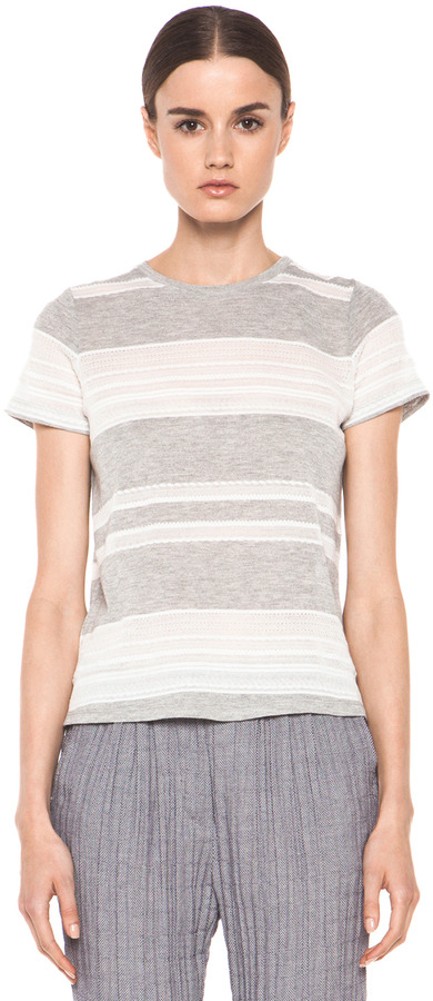 Band Of Outsiders Lace Jacquard Stripe Knit Tee in Heather Grey