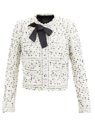 Giambattista Valli Bow-embellished Boucle-tweed Jacket - White Black