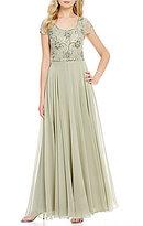 J Kara Beaded Scoop Neck Cap Sleeve A-Line Chiffon Gown