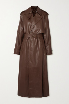 Bottega Veneta Belted Leather Trench Coat - Brown