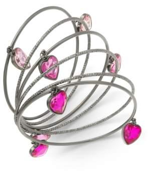 Thalia Sodi Silver-Tone 6-Pc. Set Stone Hearts Bangle Bracelets, Created For Macy's
