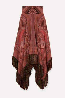 Etro Fringed Asymmetric Wool-jacquard Midi Skirt - Red