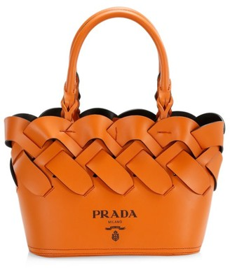 Prada Small Woven Leather Tote