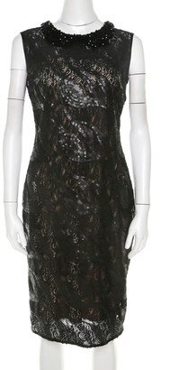 Roberto Cavalli Class by Black Sequined Lace and Beaded Collar Detail Dress M
