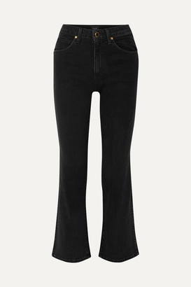 KHAITE Vivian Cropped High-rise Bootcut Jeans - Black