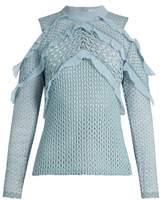Self-Portrait Purl knit lace cut-out shoulder top