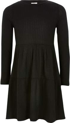 River Island Girl Black ribbed smock dress