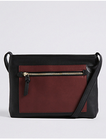 M&S Collection Faux Leather Colour Block Across Body Bag