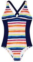 Splendid Girls' Watercolor Stripe Swimsuit - Big Kid