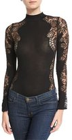 I.D. Sarrieri Noir Comme La Robe Long-Sleeve Lace Bodysuit, Black