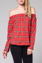 Honey Punch Off Shoulder Plaid Top