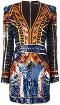 Balmain embellished sequin fitted dress