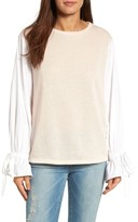 Women's Halogen Ruffle Poplin Sleeve Sweatshirt