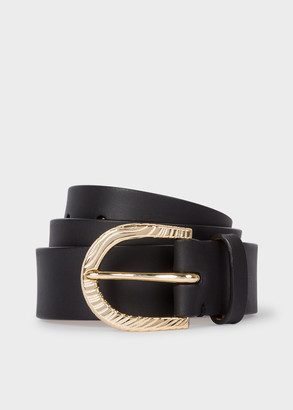 Paul Smith Women's Black Leather Belt With 'Swirl' Embossed Buckle